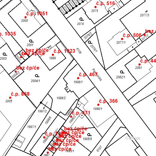 Katastrální mapa Stavební objekt Liberec I-Staré Město 467, Liberec