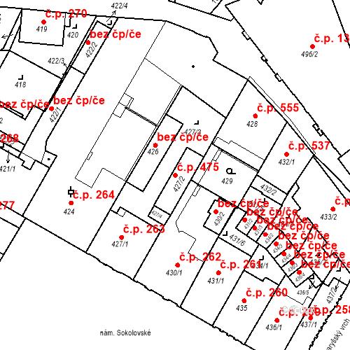 Katastrální mapa Stavební objekt Liberec I-Staré Město 475, Liberec