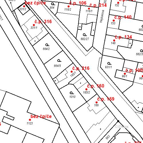 Katastrální mapa Stavební objekt Velký Osek 216, Velký Osek