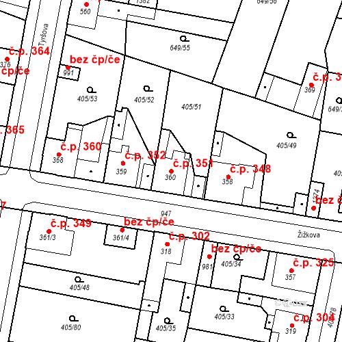 Katastrální mapa Stavební objekt Velký Osek 351, Velký Osek
