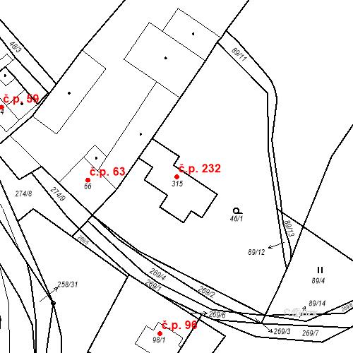 Katastrální mapa Stavební objekt Polepy 232, Polepy