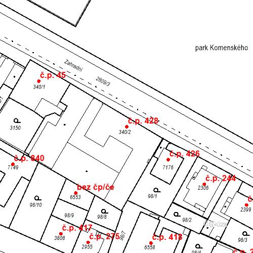 Katastrální mapa Stavební objekt Kolín III 428, Kolín