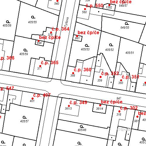 Katastrální mapa Stavební objekt Velký Osek 360, Velký Osek
