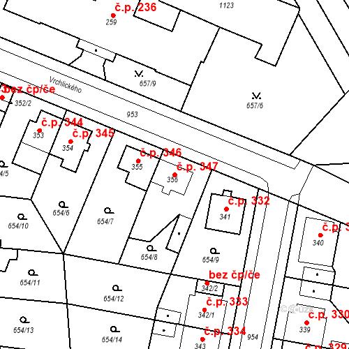Katastrální mapa Stavební objekt Velký Osek 347, Velký Osek