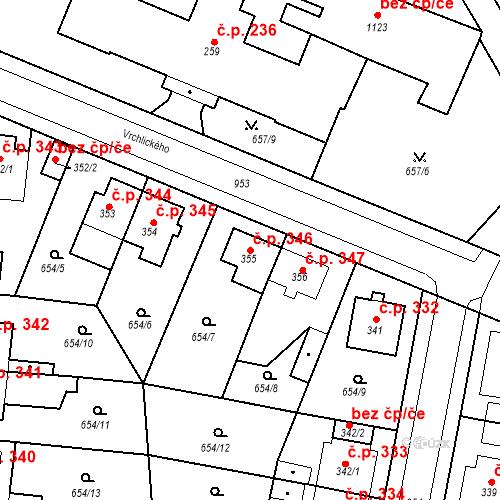 Katastrální mapa Stavební objekt Velký Osek 346, Velký Osek