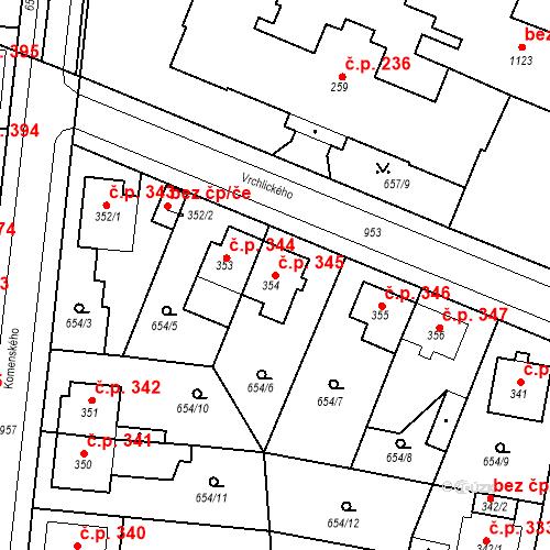 Katastrální mapa Stavební objekt Velký Osek 345, Velký Osek
