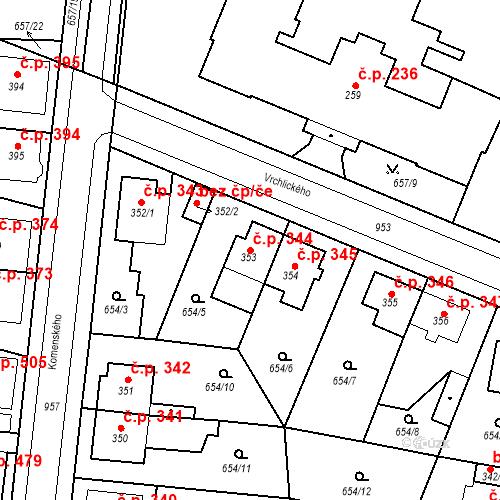 Katastrální mapa Stavební objekt Velký Osek 344, Velký Osek