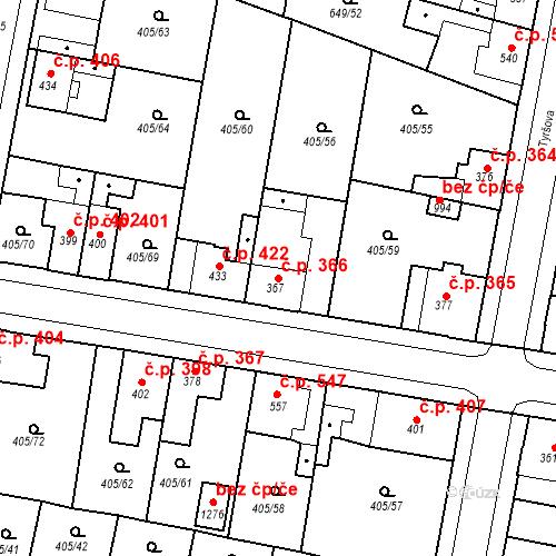Katastrální mapa Stavební objekt Velký Osek 366, Velký Osek