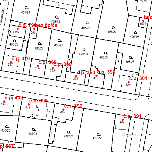 Katastrální mapa Stavební objekt Velký Osek 350, Velký Osek