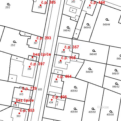 Katastrální mapa Stavební objekt Velký Osek 358, Velký Osek