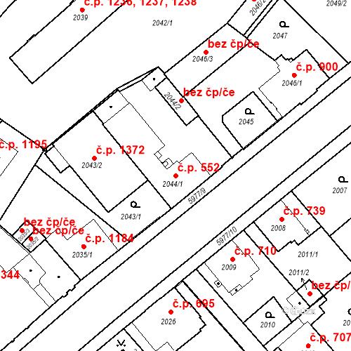 Katastrální mapa Stavební objekt Liberec I-Staré Město 552, Liberec