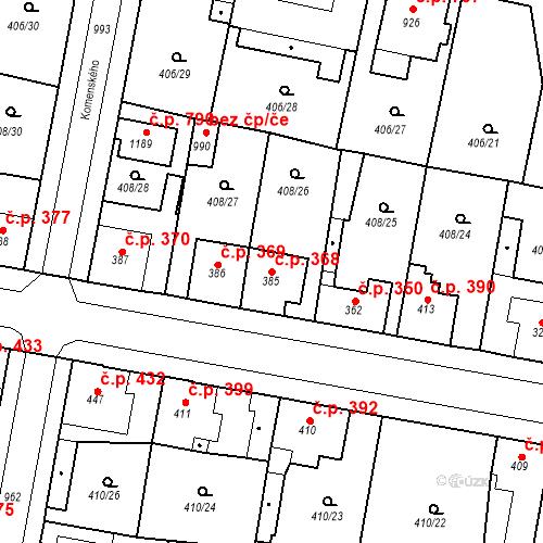 Katastrální mapa Stavební objekt Velký Osek 368, Velký Osek