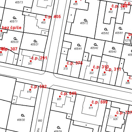 Katastrální mapa Stavební objekt Velký Osek 375, Velký Osek