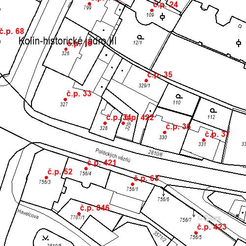 Katastrální mapa Stavební objekt Kolín III 422, Kolín