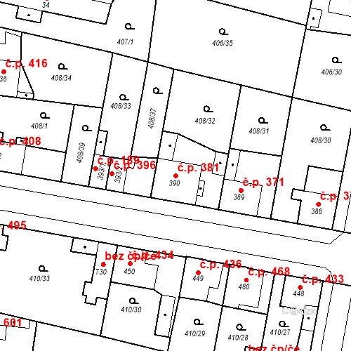 Katastrální mapa Stavební objekt Velký Osek 381, Velký Osek