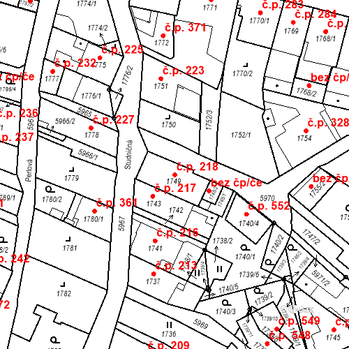 Katastrální mapa Stavební objekt Liberec II-Nové Město 218, Liberec