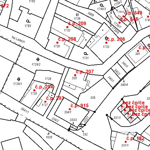 Katastrální mapa Stavební objekt Liberec II-Nové Město 207, Liberec