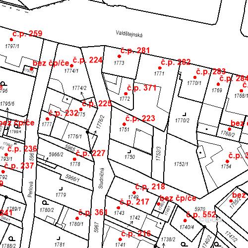 Katastrální mapa Stavební objekt Liberec II-Nové Město 223, Liberec