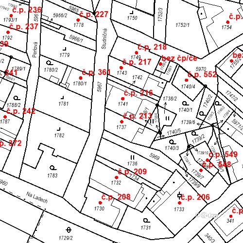 Katastrální mapa Stavební objekt Liberec II-Nové Město 213, Liberec