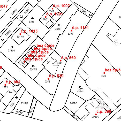 Katastrální mapa Stavební objekt Liberec I-Staré Město 560, Liberec