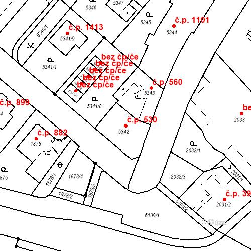 Katastrální mapa Stavební objekt Liberec I-Staré Město 530, Liberec