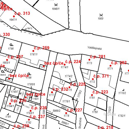 Katastrální mapa Stavební objekt Liberec II-Nové Město 224, Liberec