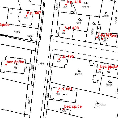 Katastrální mapa Stavební objekt Velký Osek 495, Velký Osek