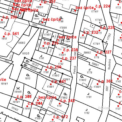 Katastrální mapa Stavební objekt Liberec II-Nové Město 237, Liberec