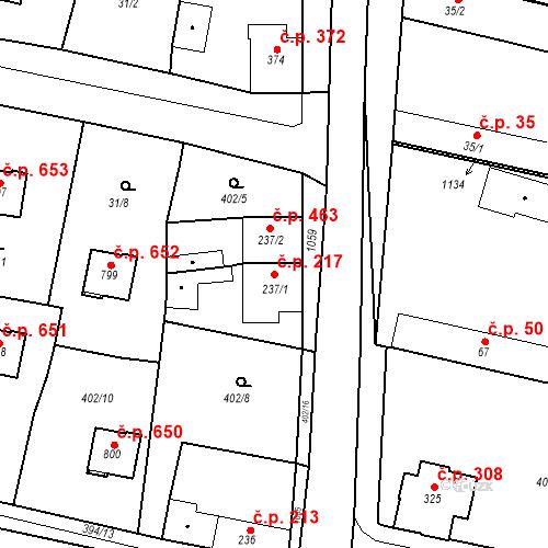 Katastrální mapa Stavební objekt Velký Osek 217, Velký Osek