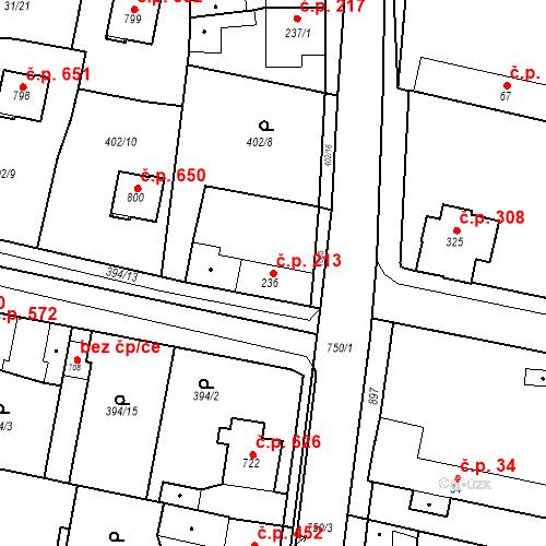 Katastrální mapa Stavební objekt Velký Osek 213, Velký Osek
