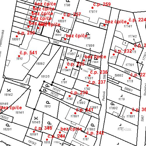 Katastrální mapa Stavební objekt Liberec II-Nové Město 236, Liberec