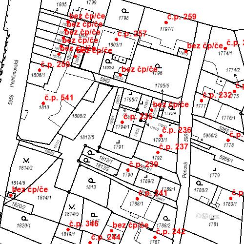 Katastrální mapa Stavební objekt Liberec II-Nové Město 235, Liberec