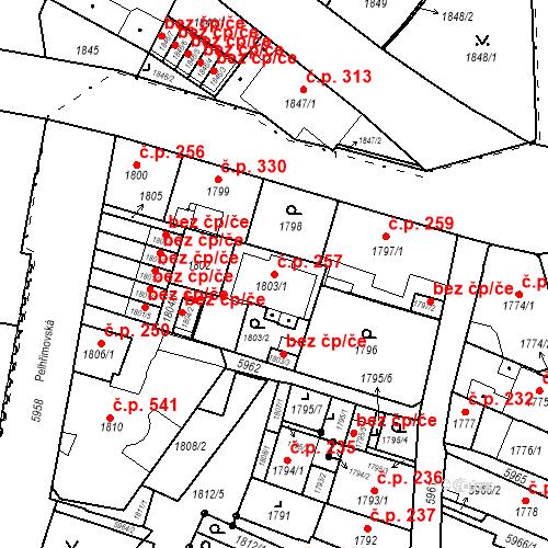 Katastrální mapa Stavební objekt Liberec II-Nové Město 257, Liberec