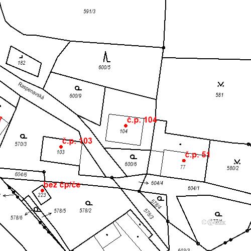 Katastrální mapa Stavební objekt Liberec XXXII-Radčice 104, Liberec