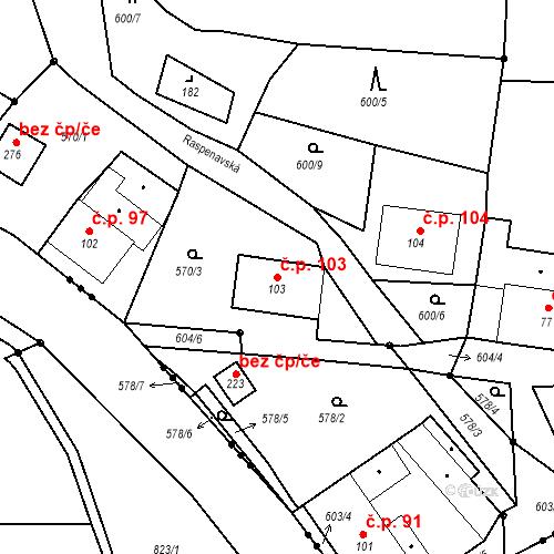 Katastrální mapa Stavební objekt Liberec XXXII-Radčice 103, Liberec