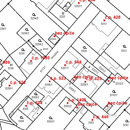 Katastrální mapa Stavební objekt Liberec I-Staré Město 544, Liberec