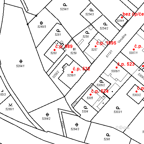 Katastrální mapa Stavební objekt Liberec I-Staré Město 532, Liberec