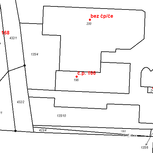 Katastrální mapa Stavební objekt Choťánky 166, Choťánky