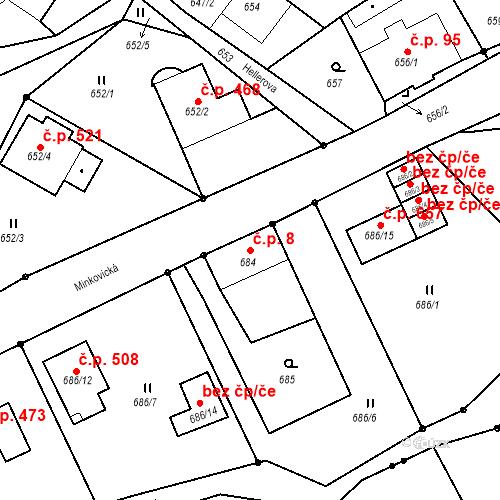 Katastrální mapa Stavební objekt Liberec XXIII-Doubí 8, Liberec