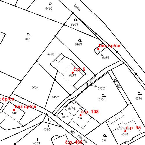 Katastrální mapa Stavební objekt Liberec XXIII-Doubí 9, Liberec