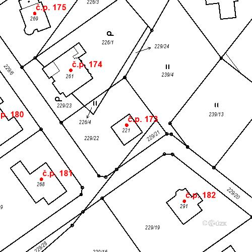 Katastrální mapa Stavební objekt Minkovice 173, Šimonovice