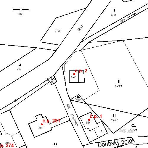 Katastrální mapa Stavební objekt Liberec XXIII-Doubí 2, Liberec