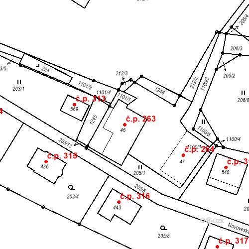 Katastrální mapa Stavební objekt Liberec XXXI-Krásná Studánka 263, Liberec