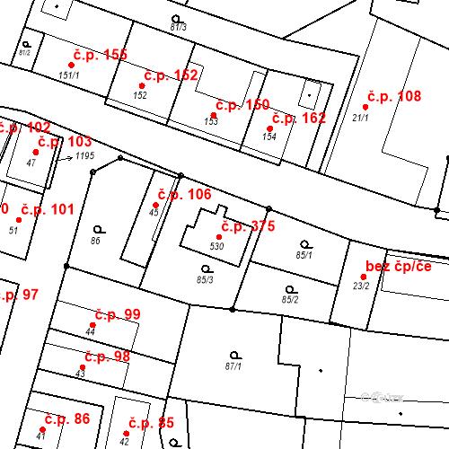 Katastrální mapa Stavební objekt Křinec 375, Křinec