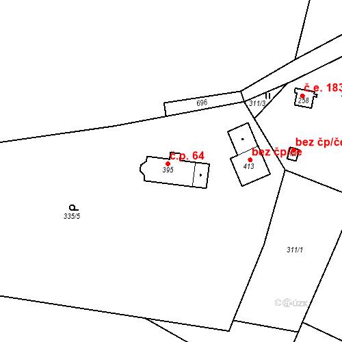 Katastrální mapa Stavební objekt Černíny 64, Černíny