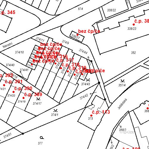 Katastrální mapa Stavební objekt Liberec VIII-Dolní Hanychov 320, Liberec