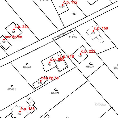 Katastrální mapa Stavební objekt Doubrava 248, Žďár