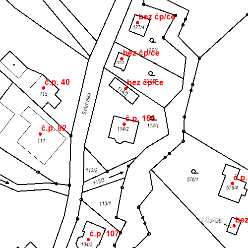Katastrální mapa Stavební objekt Liberec XXII-Horní Suchá 156, Liberec