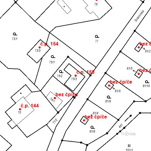 Katastrální mapa Stavební objekt Liberec XXII-Horní Suchá 158, Liberec