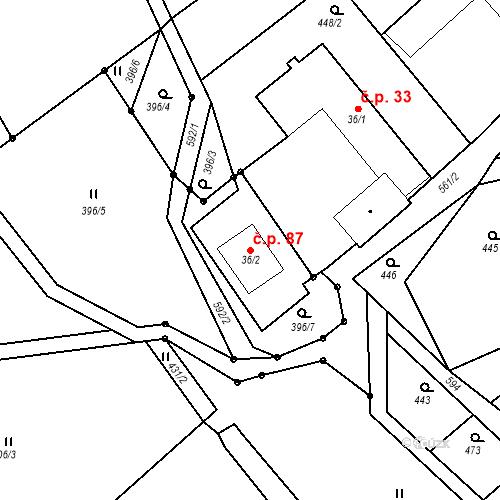 Katastrální mapa Stavební objekt Vlčetín 87, Bílá